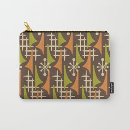 Mid Century Modern Atomic Wing Composition 235 Brown Orange and Charteuse Carry-All Pouch