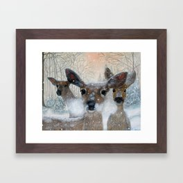 Deer in the Snowy Woods Framed Art Print