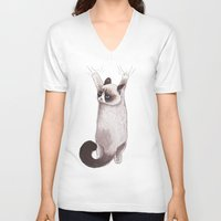 grumpy V-neck T-shirts featuring Grumpy Hang by Tummeow