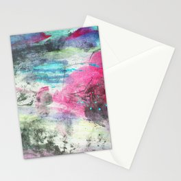 Grunge magenta teal hand painted watercolor Stationery Cards