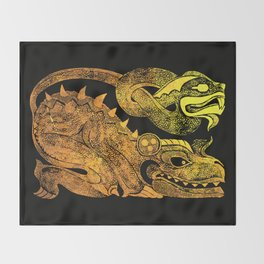 Golden two-headed dragon Throw Blanket