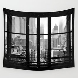 New York City Window Black and White Wall Tapestry