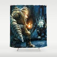 bioshock Shower Curtains featuring Bioshock Big Daddy Showdown by Joe Misrasi