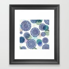 Fall Love Mandala in Blue Framed Art Print