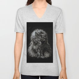 Main Coon Cat Comes For Dinner Unisex V-Neck