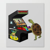 ninja turtle Canvas Prints featuring Arcade Ninja Turtle by Michowl