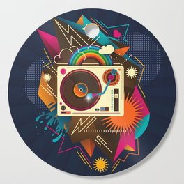 Goodtime Party Music Retro Rainbow Turntable Graphic Cutting Board