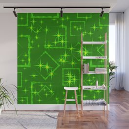 Lime diamonds and squares at the intersection with the stars on a green background. Wall Mural