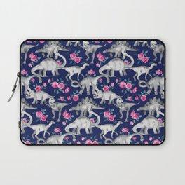 Dinosaurs and Roses on Dark Blue Purple Laptop Sleeve