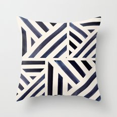 Watercolor Stripe Midnight Throw Pillow