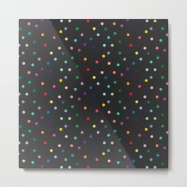 Black and rainbow polka Metal Print