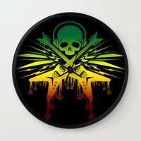 punk rock Wall Clocks featuring punk rock  by jhun21