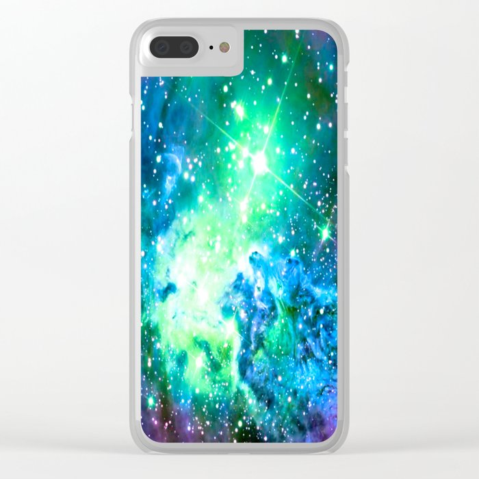 Fox Fur Nebula BRIGHT : Green Blue Purple Galaxy Clear iPhone Case