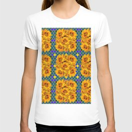 BLOCKS OF YELLOW SUNFLOWERS ON TEAL & PURPLE PATTERN T-shirt