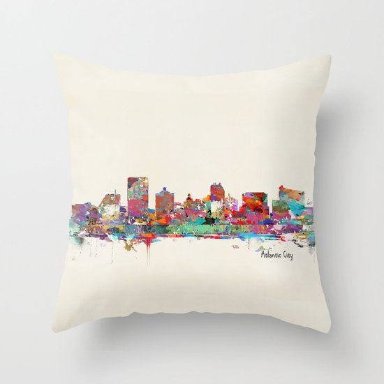 Atlantic city New Jersey skyline Throw Pillow