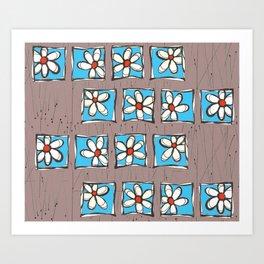 Blue Flowers on Brown Art Print
