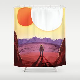 NASA Retro Space Travel Poster #8 Kepler 16b Shower Curtain
