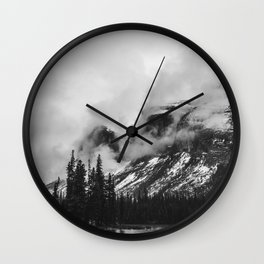 Smokey Mountains Maligne Lake Landscape Photography Black and White by Magda Opoka Wall Clock