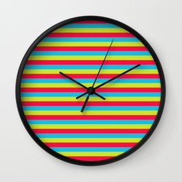 funny stripes colorful pattern Wall Clock