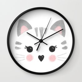 Little Kitty Face Wall Clock