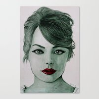 emma stone Canvas Prints featuring Emma Stone  by Kristy Holding