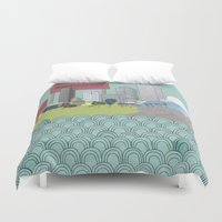 chicago Duvet Covers featuring Chicago by Hollie McManus
