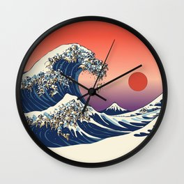 The Great Wave of Pugs / Square Wall Clock
