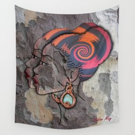 African lady profile on Bark Wall Tapestry