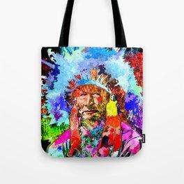 Amerindian Grunge Portrait Tote Bag