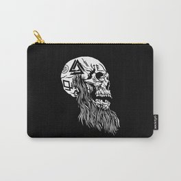 Viking Skull with tattoos and long beard Carry-All Pouch