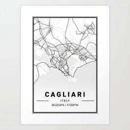 Cagliari Light City Map Art Print