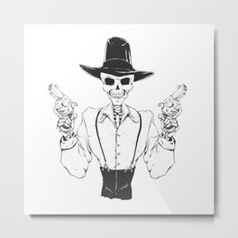 Gangster skull - grim  reaper cartoon - black and white Metal Print