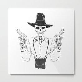 Gangster skull - grim  reaper cartoon - black and white Metal Print
