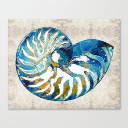 Beachy Art - Nautilus Shell Bleu - Sharon Cummings Canvas Print