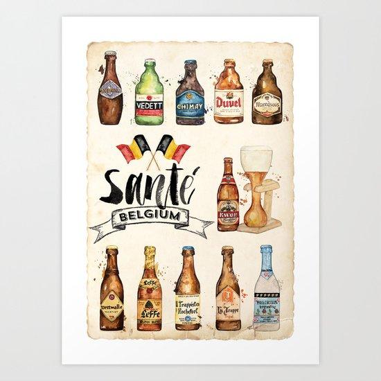 Belgium Beers Art Print