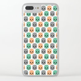 Orange, green and grey skulls Clear iPhone Case