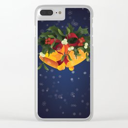 Christmas jingle bells with mistletoe and holly berry Clear iPhone Case