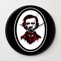 poe Wall Clocks featuring Poe by Brit Austin Illustration