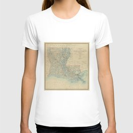 Vintage Map of Louisiana (1896) T-shirt