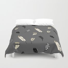 Grey Feathers Illustration Duvet Cover