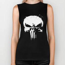 Punisher White Paint Splatter Skull Graphic bike  T-Shirts Biker Tank