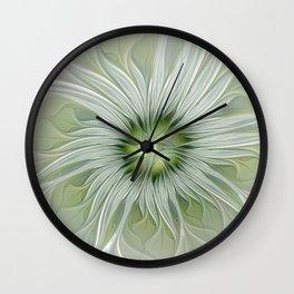 Olive Fantasy Flower Wall Clock