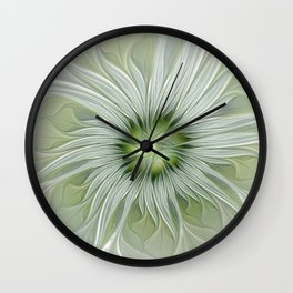 Olive Fantasy Flower Wall Clock