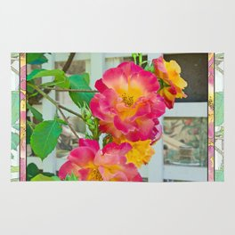 TROPICANA ROSE ON WHITE LATTICE Rug