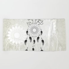 Dreamcatcher in black and white Beach Towel