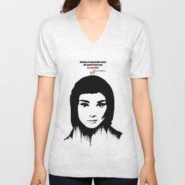Audrey Hepburn art design ( black and white)  Unisex V-Neck