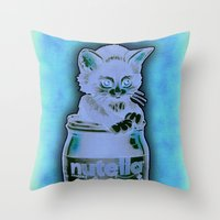 nutella Throw Pillows featuring Kitten Loves Nutella by Tim Shumate