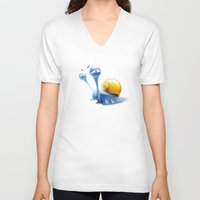 snail V-neck T-shirts featuring snail by Antracit