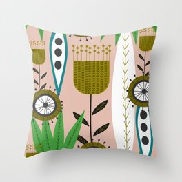 Mid-century garden Throw Pillow