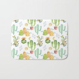 Modern green yellow geometric watercolor cactus pattern Bath Mat